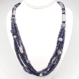 Vintage Bohemian Layered Blue Faux Stone Necklace